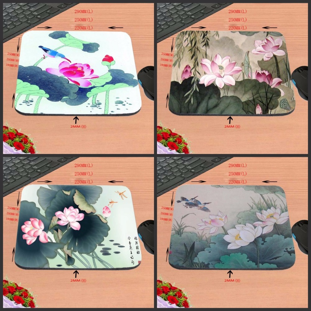 Beautiful Lotus Flower Art Printing Bets Non Slip Durable Rubber Mousepad for PC Optal Mouse aming Mat22x18cm/ 25x20cm/25x29cm