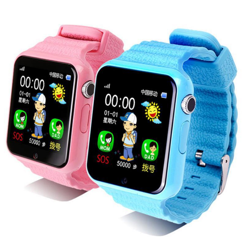 V7K Children Smart Location Positioning Watch Phone Touch Screen Voice Call GPS Tracking Finder SOS Smart Kid Bluetooth Watch jm15 children s watch russian english overseas version touch children gps positioning watch hot smart wearable device