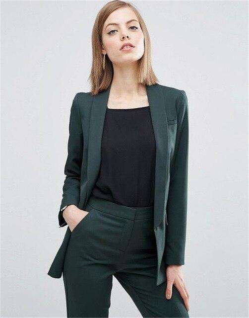 Темно зеленый женский облегающий деловой костюм, женский Повседневный офисный костюм, Униформа, стиль, костюмы, комплект из 2 предметов, Traje