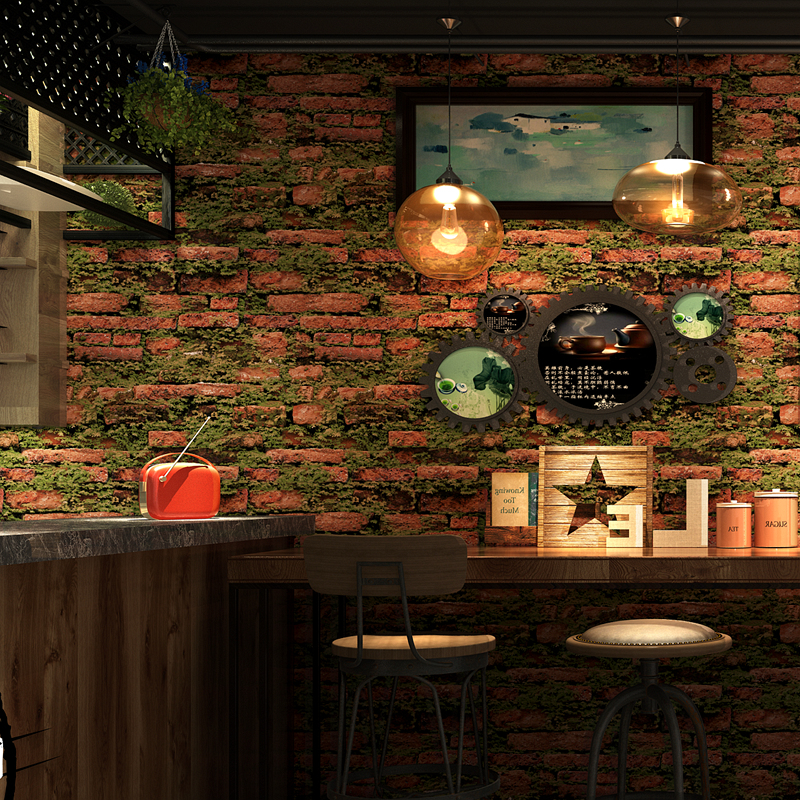 Vintage Grass Brick Wall papers Home Decor Rock Brick Wall Paper Roll for Clothing Barber shop Walls vinilos pared contact paper in Wallpapers from Home Improvement