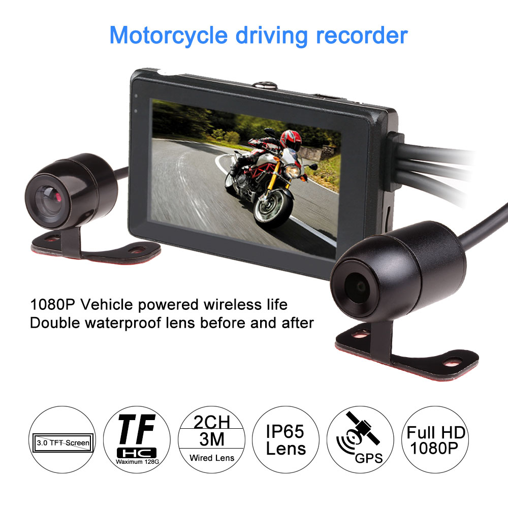 Fodsports Motorcycle DVR Dash Cam T2 Mini Video Recorder 1080P HD Dual Lens Motorbike DVR Waterproof