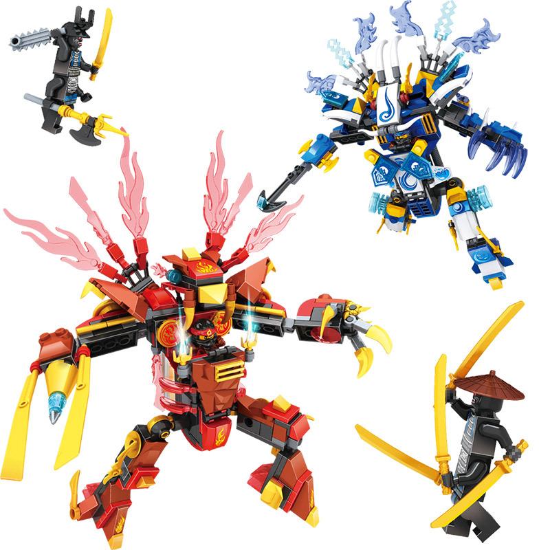 New Compatible With Legoinglys Ninjagoed Series Mecha Model of Kai and Jay Building Blocks figures Classic Toys For Boys 1ps ninja heroes kai jay cole zane nya lloyd motorcycle with weapons building blocks figure compatible legoinglys ninjagoinglys