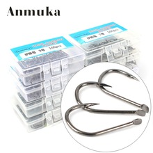 Anmuka 8box(800Pcs Mixed Size) Carbon Silver Fishing Hooks 5#6#7#8#9#10#11#12# Barbed Hook Ice Fishing Tackles Freash water hook