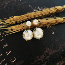 Vanssey Vintage Natural Pearl Round Stud Earrings Fashion Jewelry Statement Accessories for Women 2018 New