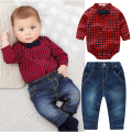 2pcs Plaid Baby Boy Clothes Gentleman Rompers Long Sleeve + Pants Suit Kids Boy Clothing Set Kids Clothes