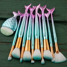 11 Pcs Mermaid Makeup Brushes Set Big Fish Tail Power Foundation EyeShadow Contour Concealer Blush Face Make Up Brush Beauty Kit