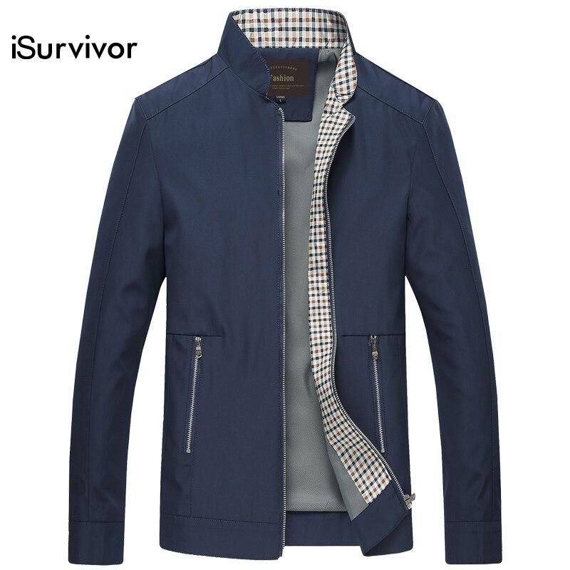 Isurvivor 2018 Для мужчин осенние куртки и Пальто для будущих мам jaqueta masculina мужской повседневные Модные Тонкий Встроенная Большой Размеры молнии Куртки Hombre