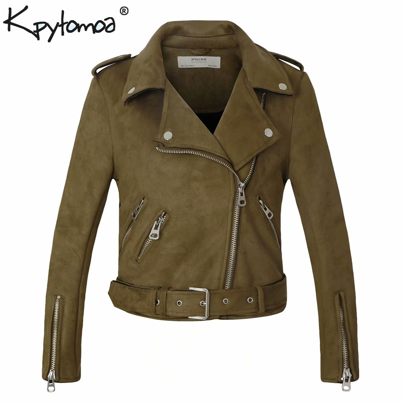 Vintage Matte Faux   Suede     Leather   Biker Jacket Motorcycle Coat Women 2019 Fashion Long Sleeve Lady Outerwear Casual Casaco Femme
