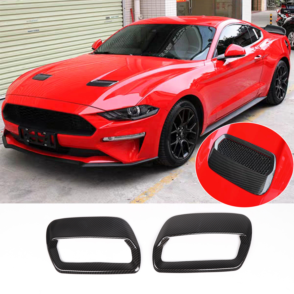 Carbon Fiber ABS Car Hood Air Vent Cover,2pcs Hood Air Outlet Decorative Covers for Jeep Wrangler JL 2018-2019