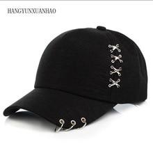 Spring Autumn Unisex Metal Cross Baseball Cap With 3 Iron Rings Adjustale Cotton Snapback Hat Fashion Casual Caps Street Style