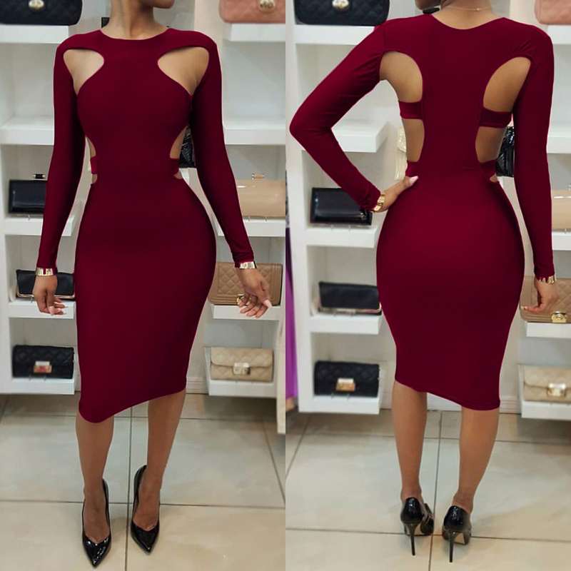 skitzyou vestidos Party Dresses Sexy Women Long Sleeve Hollow Out Slim Knee  Length Autumn Bodycon Dress Club Black Office Dress-in Dresses from Women s  ... 52c9c3da8720