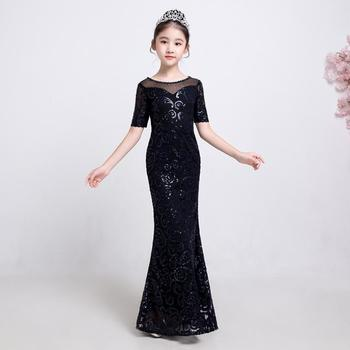 Baby Girls Princess Mermaid Dress 2019 New Sexy Lace Sequins Evening Dress Children's Party Gown Kids Clothes Vestidos Y1107