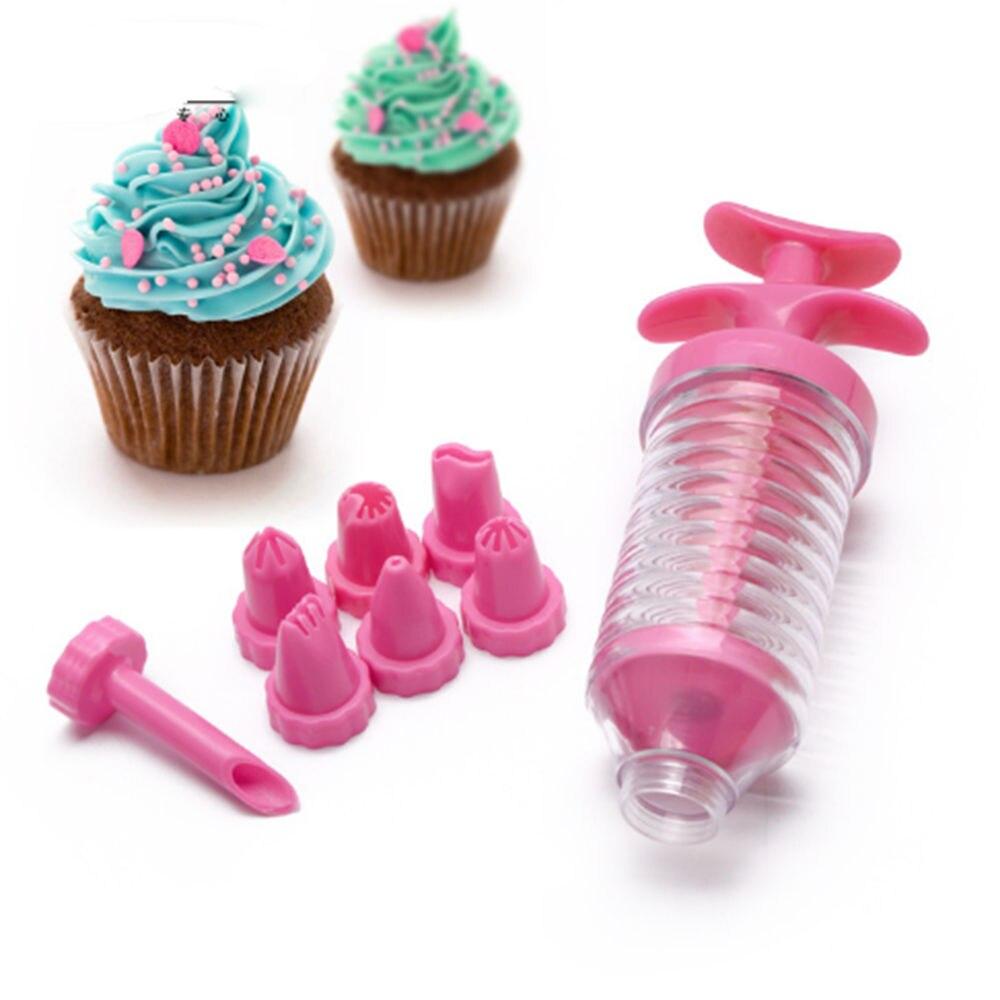 Home Cake Decorating: 1 Set 8 Nozzles Cake Decoration Set Icing Syringe Plastic