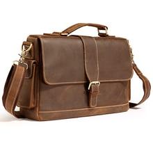 Винтажный портфель Crazy Horse из натуральной кожи, мужская деловая сумка, настоящая кожаная сумка на плечо для мужчин, Офисная сумка, сумка через плечо M017