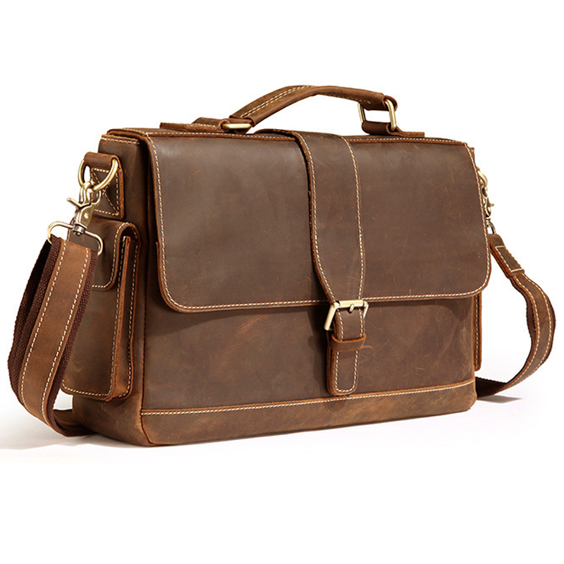 Vintage Crazy Horse Genuine Leather Briefcase Men Business Bag Real Leather Shoulder Bag For Men Office Bag Crossbody Bag M017#