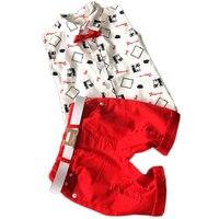 Hot Sale 2016 Summer Style Children Clothing Sets Baby Boys Girls T Shirts Shorts Belt 3pcs