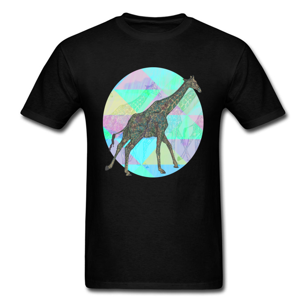 Простой Стиль Жираф Remix досуг короткий рукав день влюбленных Футболки Классический О-образным вырезом одежда из 100% хлопка рубашка мужская ф...