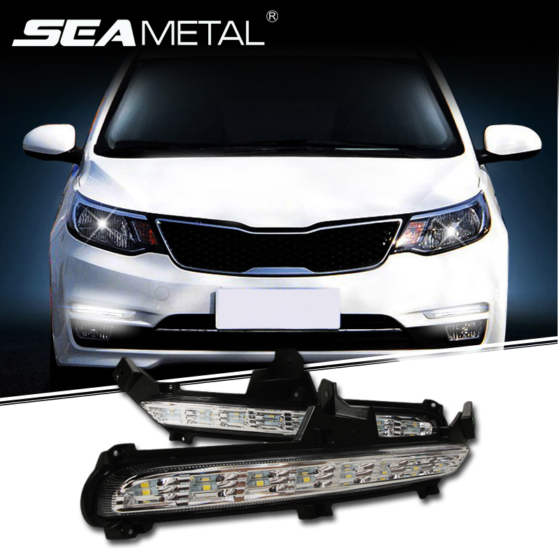 For KIA RIO K2 2015 2016 Car DRL Daytime Running Lights LED Lamps For Auto External Fog Light Lamp Foglamp Auto LEDs Car-styling 2x 881 h27w 2 led smd fog light running bulb for kia rio rondo optima borrego