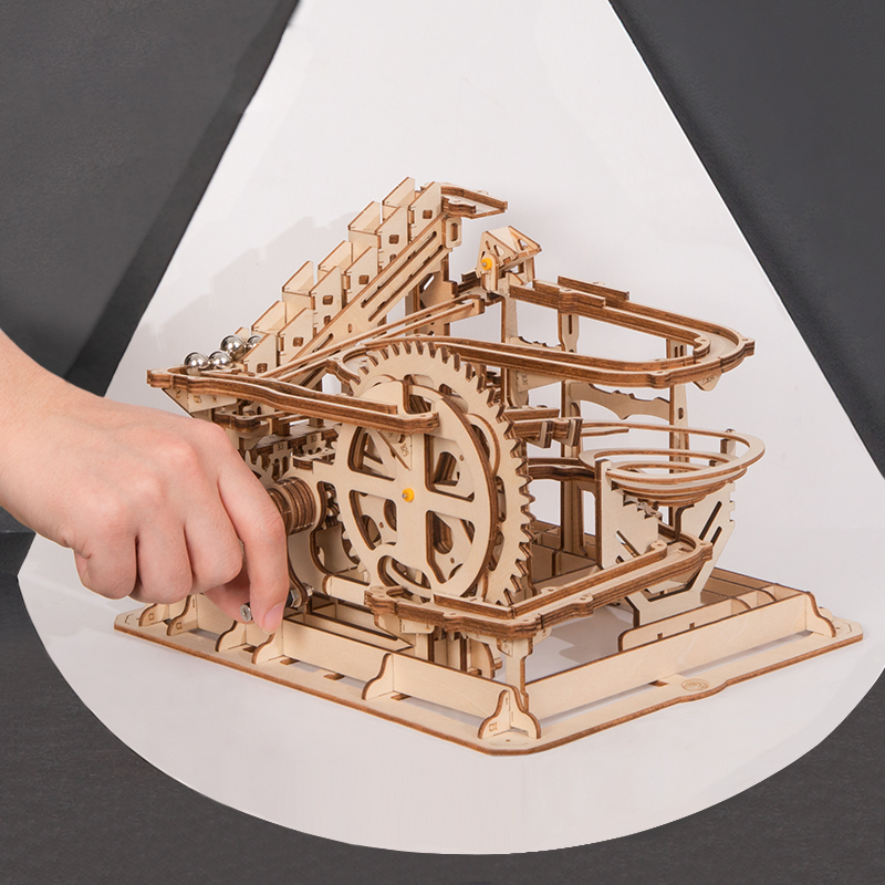 Robud DIY Marble Run Game Wooden Puzzle Gear Drive Model Building Kits Assembly Toy Gift for