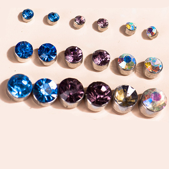 Claire fashion accessories stud earring pack set 9 pairs Cubic Zircon Crystal Sutd Earring 5-13mm gift for women broncos
