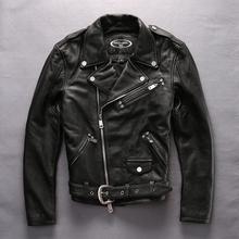 HARLEY ANGEL 2017 New Arrival motorcycle genuine leather jacket men turn down collar cowskin men s