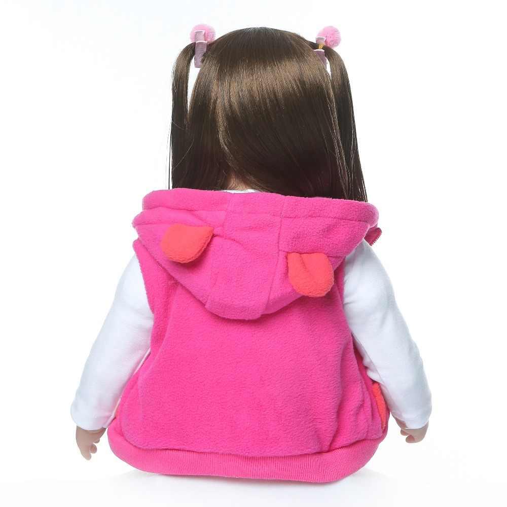 60 CM alta qualidade adorável Lifelike renascido vinil Silicone boneca da criança da princesa menina Do Bebê Bonecas menina boneca reborn bebe de menina