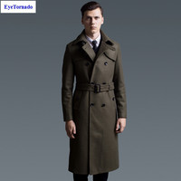 Men Coat Autumn Winter Fashion Double Breasted Military Green Bleted Long Casual Work Wool Pea Coat
