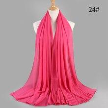 Bufanda de gasa de gran tamaño, hiyab plisado de 185cm x 75cm, nuevo de retazos, Popular, con burbujas, costuras, pañuelos musulmanes/bufanda