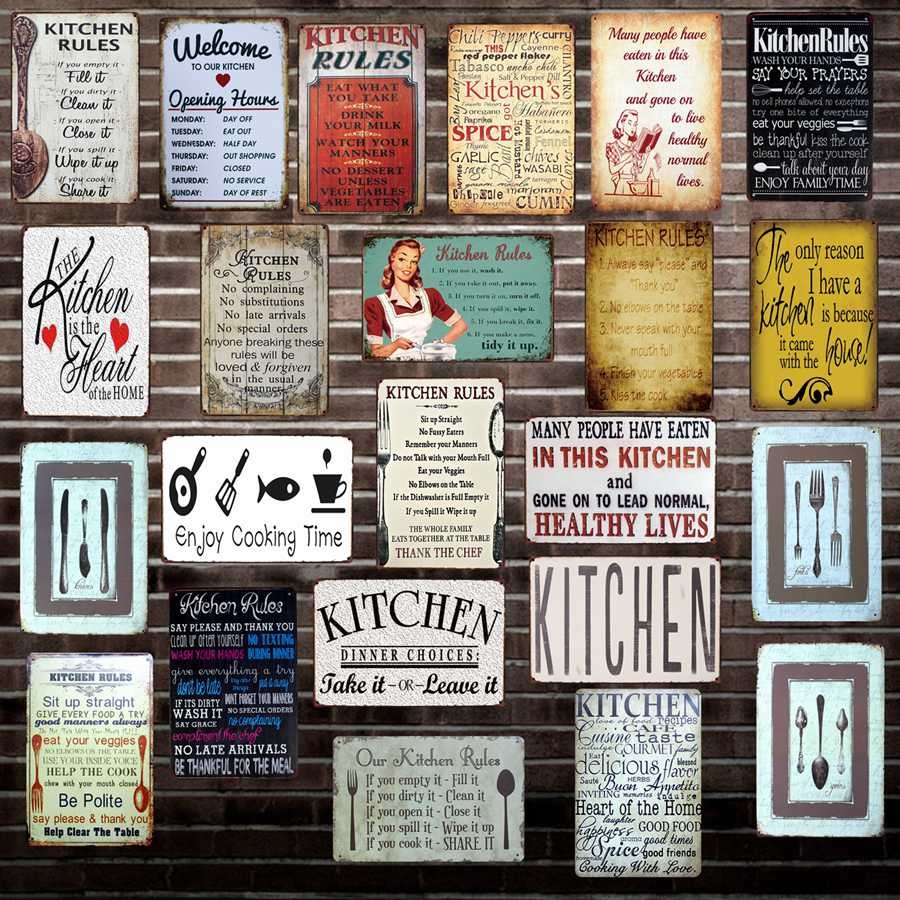 US $3.98 49% OFF|[ Mike86 ] Kitchen Rule Knife fork spoon Metal Sign Wall  Plaque Poster Custom personality Painting Decor Art LT 1697-in Plaques & ...