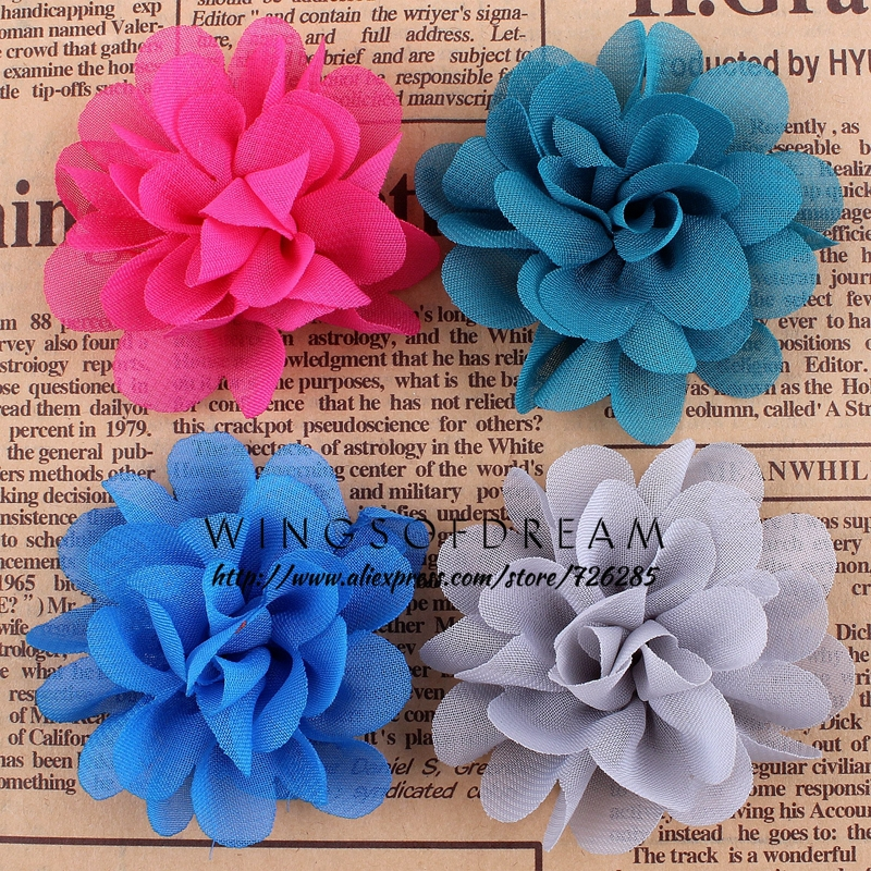 (120pcs/lot)2.4 16 Colors New Hot Chic Blossom Flower For Headband Crochet Chiffon Flower Accessories For Princess