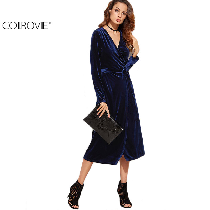 a46825bb874 COLROVIE Fall Long Sleeve Dress Womens Sexy Dresses  arty Night Club Dress  Navy Surplice Front Velvet Wrap Dress -in Dresses from Women s Clothing    ...