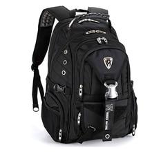 حقيبة ظهر سويسرية أكبر مقاومة للماء للسفر للرجال طراز 17 حقيبة ظهر للكمبيوتر المحمول مقاومة للمياه حقيبة ظهر سوداء للرجال