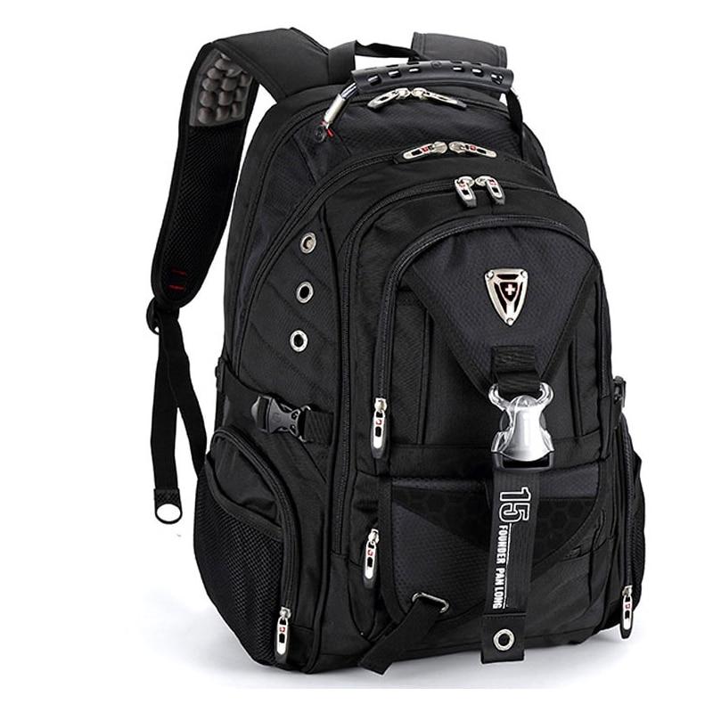 Suisse grandes voyage imperméable homme 17 sacs à dos d'ordinateur portable Étanche sac à dos pour ordinateur portable Noir Mochila Masculina Sac Pour Les Étudiants