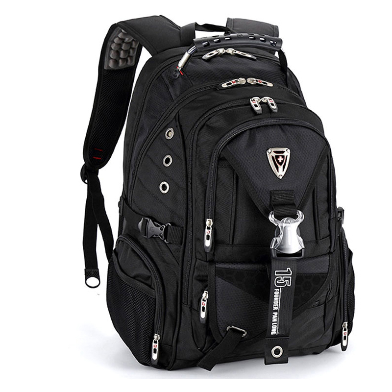 swiss larger travel wateproof Men's 17 laptop Backpacks Waterproof Laptop Backpack Black Mochila Masculina Pack For Students image