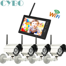 7 Inch 2.4GHz Wireless CCTV digital camera Home Security DVR recorder system 4CH outdoor IR camera TF SD card surveillance kit