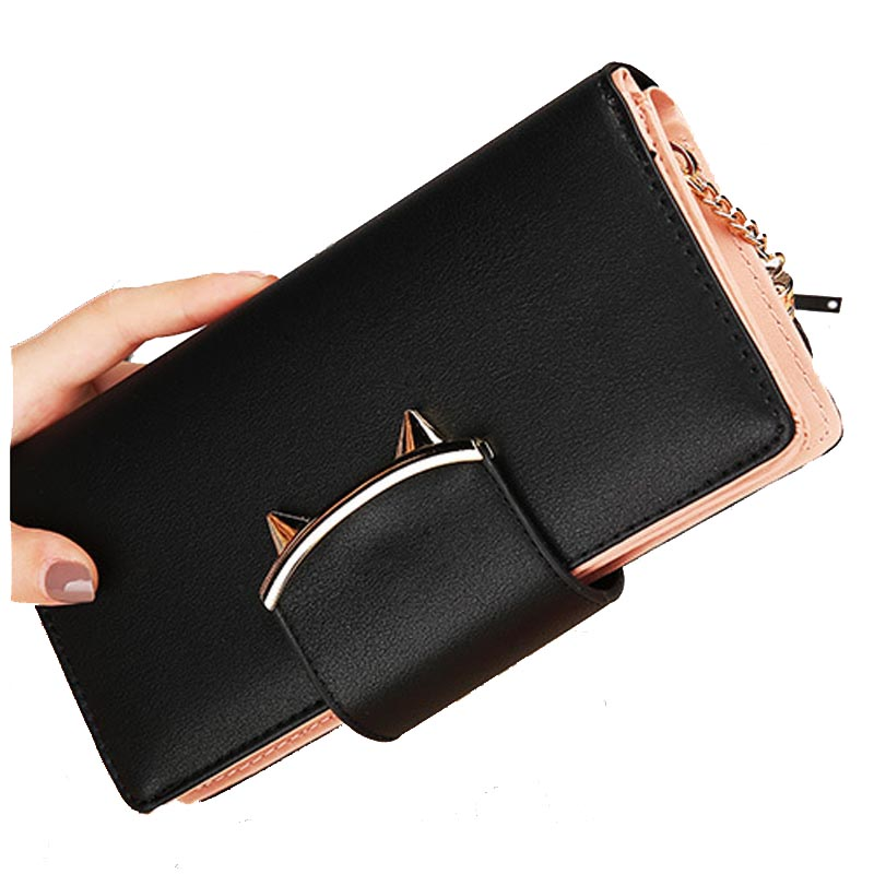 Women Wallets Leather Long Anime Tassel Fringe Card Holder Coin Photo Phone Dollar Price 2018 Clutch Female Cat Purse Designer