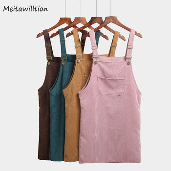 Women Retro Corduroy Autumn Suspender Dress 1