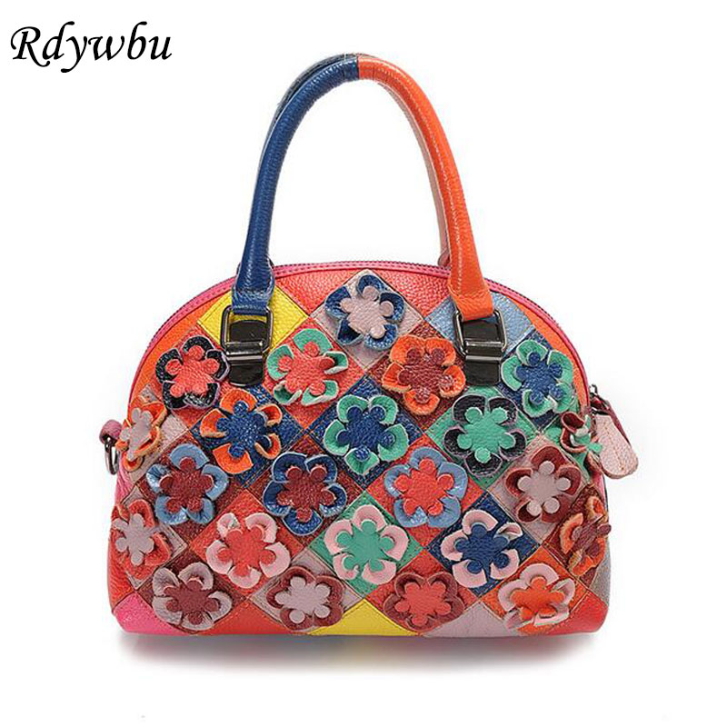 Rdywbu 2017 Luxury Genuine Cow Leather Tote Handbag Women's Colourful Flowers Patch Shoulder Bag Plaid Sewing Messenger Bag B291 rdywbu 2017 luxury genuine cow leather tote handbag women s colourful flowers patch shoulder bag plaid sewing messenger bag b291