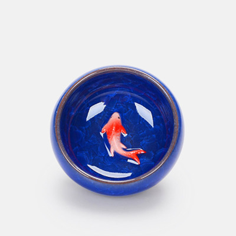 XING KILO Ice cracked glazed 3D carp Teacup colorful fish ceramic cups kung fu tea set 6 colors host cup Kongfu Tea Cup