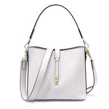 Luxury Ladies Handbags White Tote Bags For Women Womans Messenger Bags Designer Female Shoulder Bucket Bag Black Genuine Leather цена в Москве и Питере