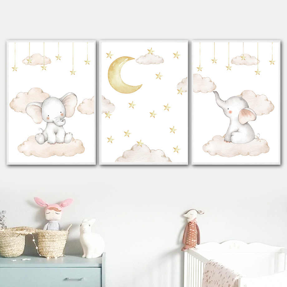 Elephant star Moon Cloud Nursery Wall Art Print Canvas Painting Nordic Canvas Posters And Prints Wall Pictures Baby Kids Room