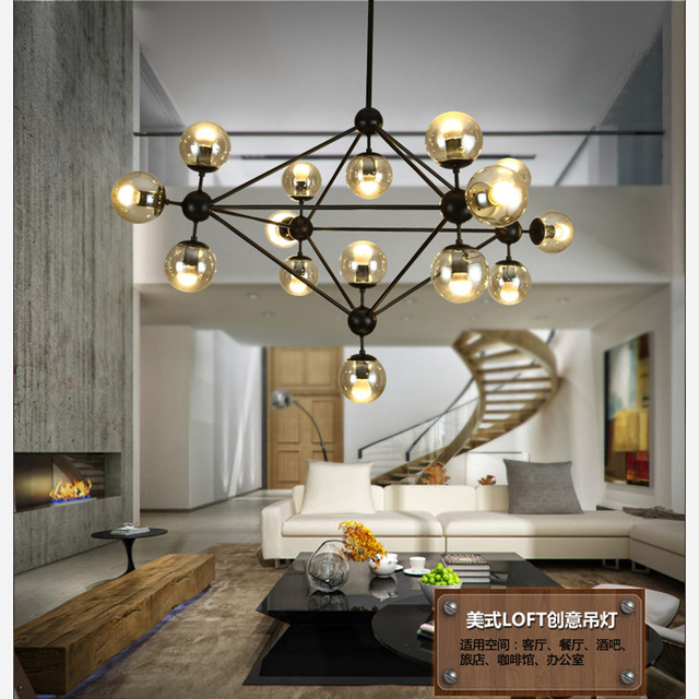 Industrial Retro Chandelier Creative Personality Simple Dining Room Glass Ball Clothing Store Lighting