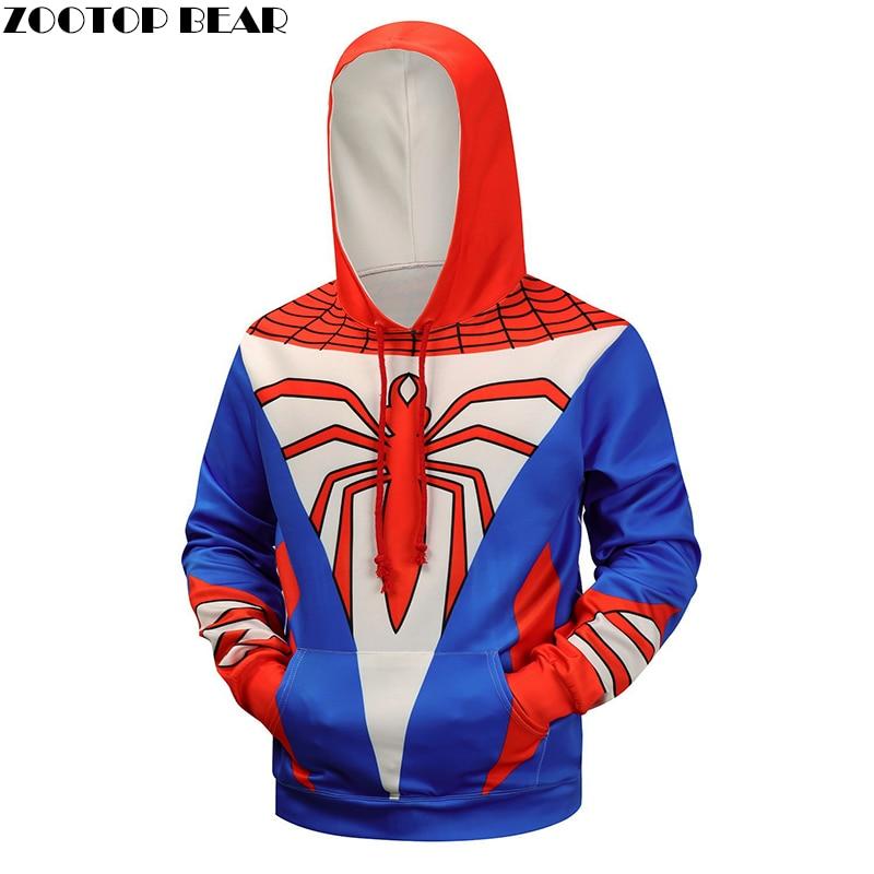 3d Hoodies Spiderman Sweatshirts Men Hooded Pullover Fashion Male Tracksuits Brand Hoodie 6XL Quality Superhero Jackets New Coat