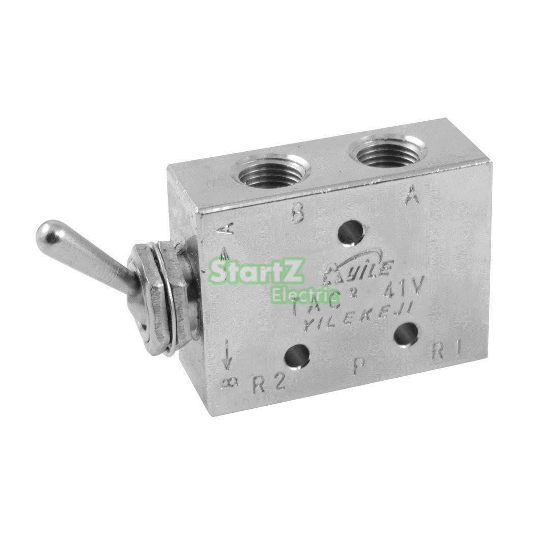 Silver Tone Air Pneumatic 2 Position 5 Way Toggle Switch Valve TAC2-41V tv 3s pneumatic toggle valve 5mm thread 2 position 3 way mechanical air pneumatic valve