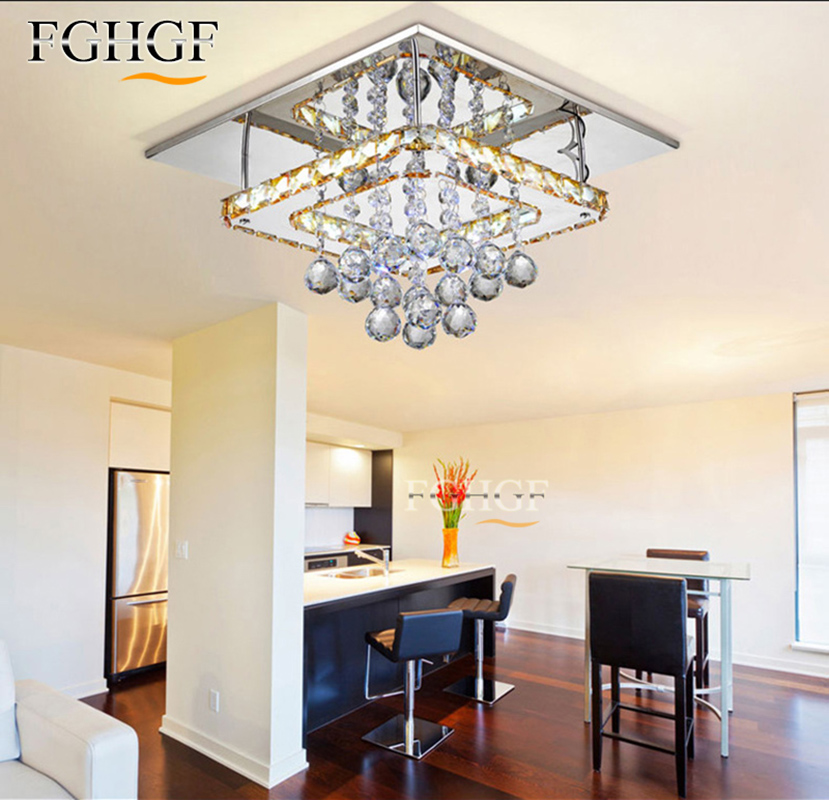 Modern Crystal LED Chandelier LED Diamond Sqaure Lamp Cristal lamparas de tech Flush Mounted Lighting for Living Room Bedroom