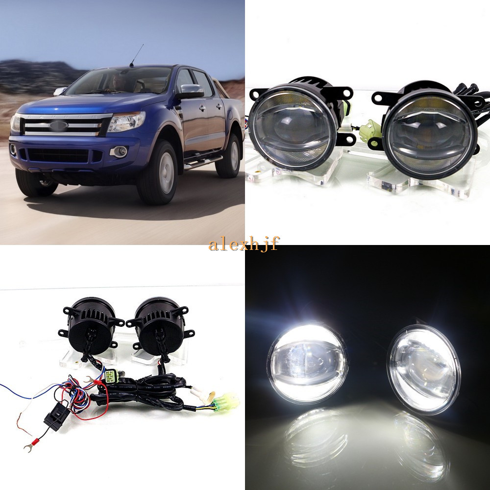 July King 1600LM 24W 6000K LED Light Guide Q5 Lens Fog Lamp +1000LM 14W Day Running Lights DRL Case for Ford Ranger T6 2012-2016 for opel astra h gtc 2005 15 h11 wiring harness sockets wire connector switch 2 fog lights drl front bumper 5d lens led lamp