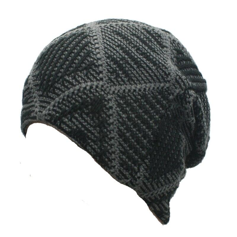 Fashion New Mens Casual Winter Knit Fleece Beanie Hat for Male Warm Plaid Skull Cap Black Grey Red Brown stylish casual cap hat dark grey