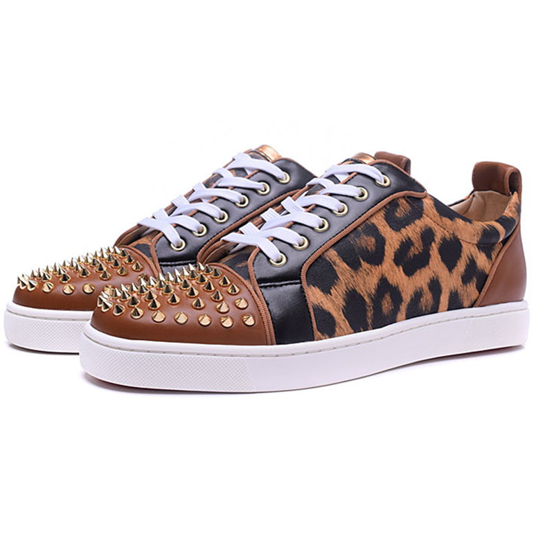 Sexy Leopard Seude Leather Mens loafers Luxury Rivets Round Toe Lace Up Flats Casual Shoes Trainers Ultra Boosts Tenis Feminino sexy leopard seude leather mens loafers luxury rivets round toe lace up flats casual shoes trainers ultra boosts tenis feminino