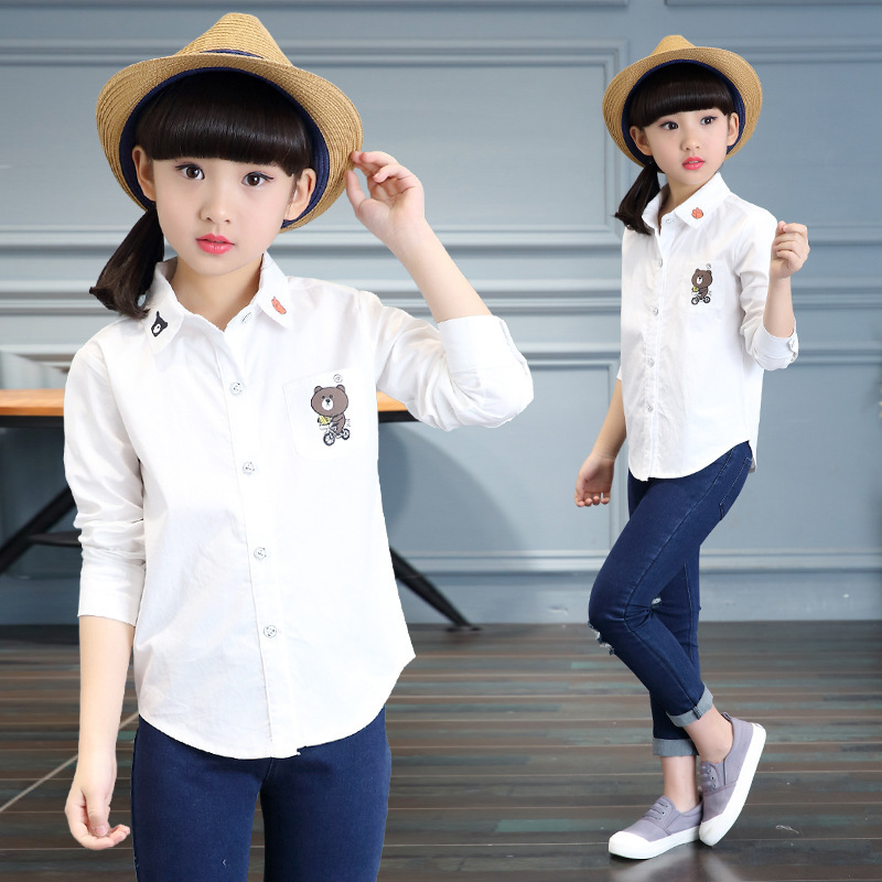 School Girls White Blouses Long Sleeve Cotton Shirts For Girls Children Clothing Students Cartoon Bear Shirts