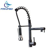 Luxury Oil Rubbed Bronze Spring Kitchen Faucet Spring Spout Deck Mounted Single Handle Hole Vessel Mixer